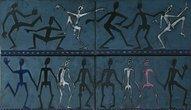 """Z cyklu """"Hezká těla"""", smalt na železe, 60 x 120 cm"""