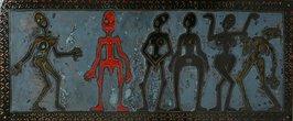 """Z cyklu """"Hezká těla"""", smalt na železe, 30 x 100 cm"""